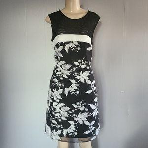 Taylor Black & White Floral Dress
